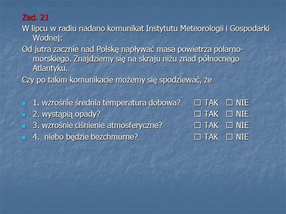 Zad. 21 W lipcu w radiu nadano komunikat Instytutu Meteorologii i Gospodarki Wodnej: Od jutra zacznie nad Polskę napływać masa powietrza polarno- mors