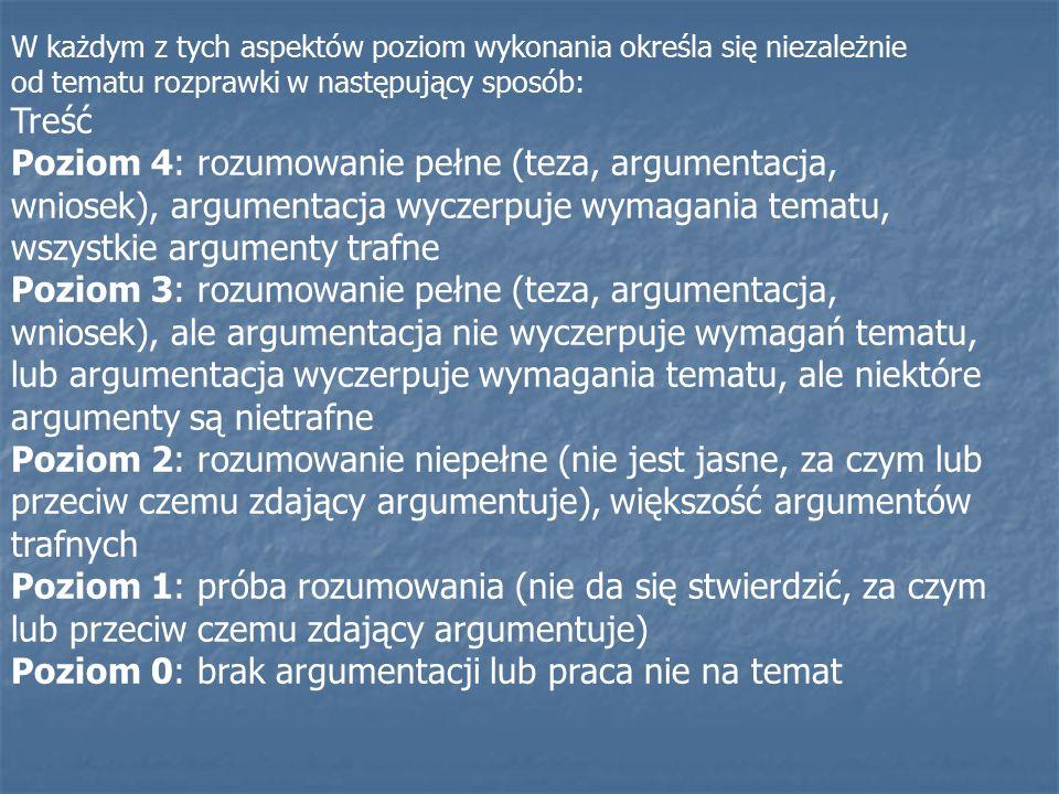 W każdym z tych aspektów poziom wykonania określa się niezależnie od tematu rozprawki w następujący sposób: Treść Poziom 4: rozumowanie pełne (teza, argumentacja, wniosek), argumentacja wyczerpuje wymagania tematu, wszystkie argumenty trafne Poziom 3: rozumowanie pełne (teza, argumentacja, wniosek), ale argumentacja nie wyczerpuje wymagań tematu, lub argumentacja wyczerpuje wymagania tematu, ale niektóre argumenty są nietrafne Poziom 2: rozumowanie niepełne (nie jest jasne, za czym lub przeciw czemu zdający argumentuje), większość argumentów trafnych Poziom 1: próba rozumowania (nie da się stwierdzić, za czym lub przeciw czemu zdający argumentuje) Poziom 0: brak argumentacji lub praca nie na temat