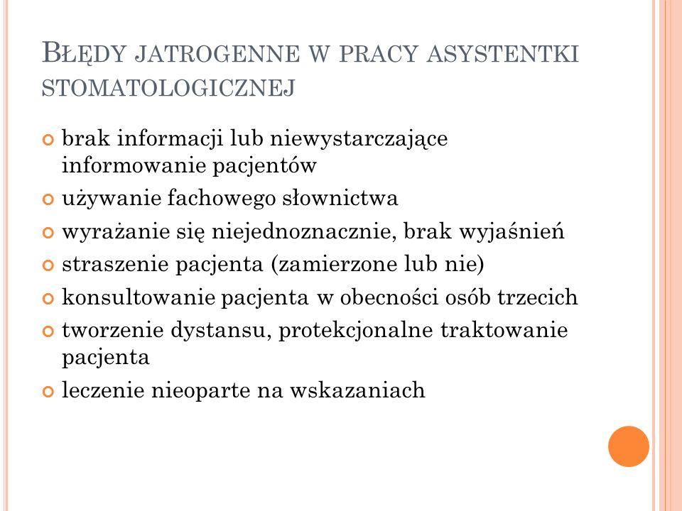 B ŁĘDY JATROGENNE W PRACY ASYSTENTKI STOMATOLOGICZNEJ brak informacji lub niewystarczające informowanie pacjentów używanie fachowego słownictwa wyraża