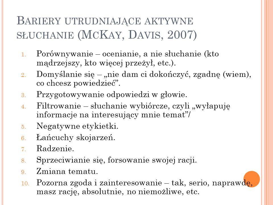 B ARIERY UTRUDNIAJĄCE AKTYWNE SŁUCHANIE (M C K AY, D AVIS, 2007) 1. Porównywanie – ocenianie, a nie słuchanie (kto mądrzejszy, kto więcej przeżył, etc