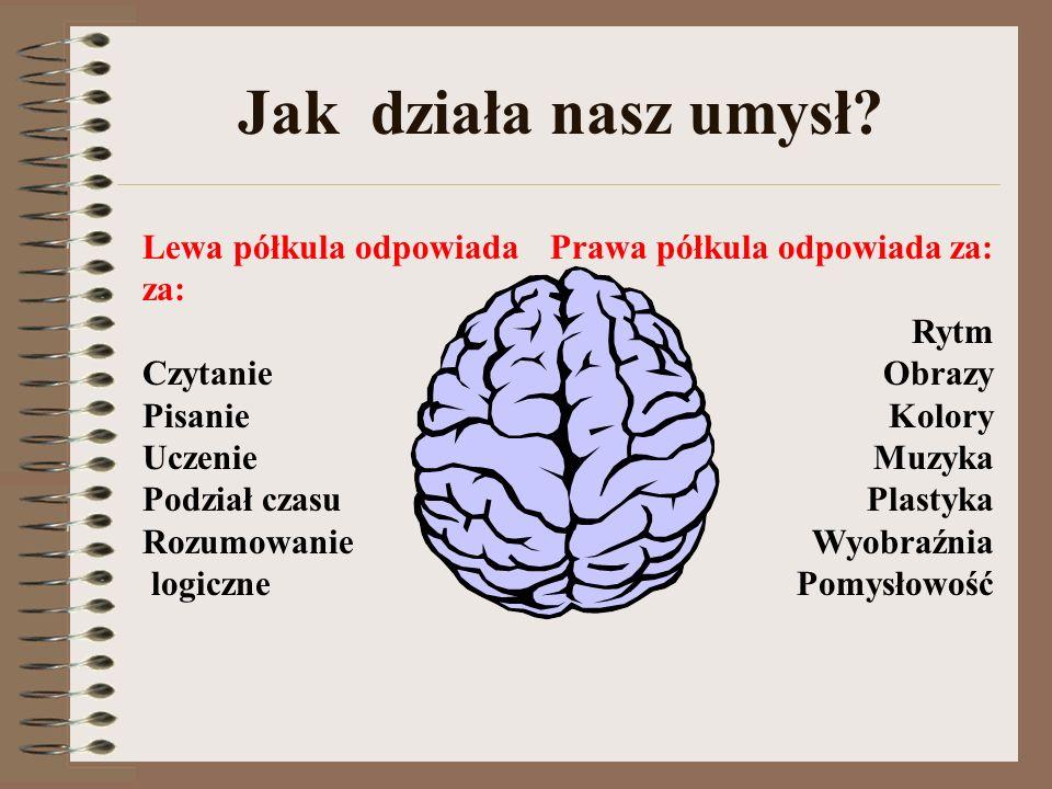 Jak działa nasz umysł? Prawa półkula odpowiada za: Rytm Obrazy Kolory Muzyka Plastyka Wyobraźnia Pomysłowość Lewa półkula odpowiada za: Czytanie Pisan