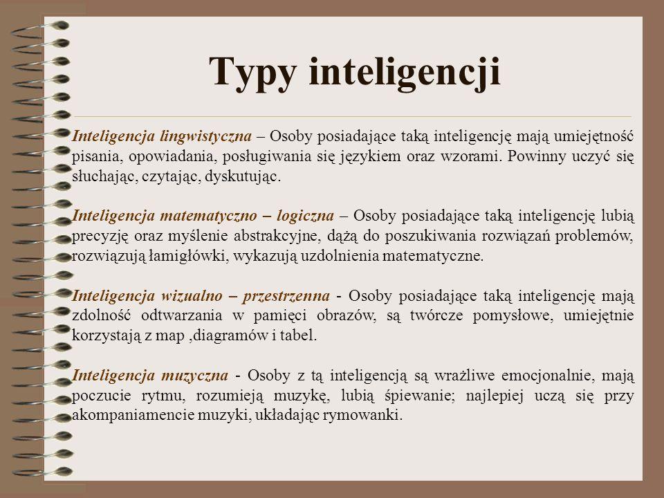 Typy inteligencji Inteligencja lingwistyczna – Osoby posiadające taką inteligencję mają umiejętność pisania, opowiadania, posługiwania się językiem oraz wzorami.