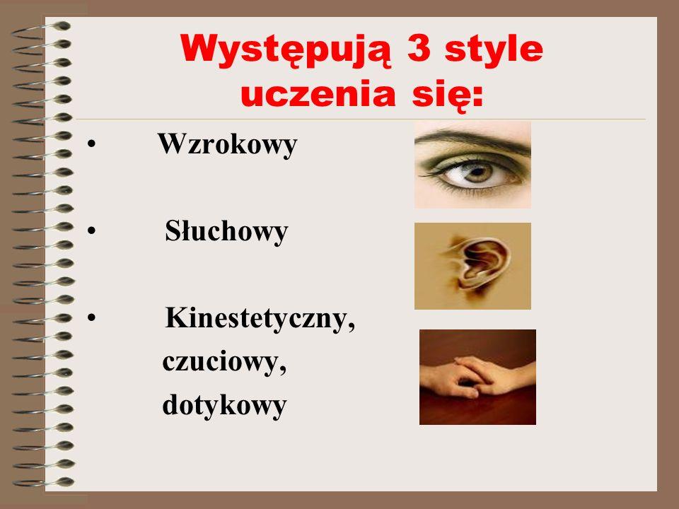 Występują 3 style uczenia się: Wzrokowy Słuchowy Kinestetyczny, czuciowy, dotykowy