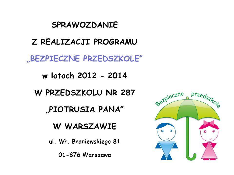 """SPRAWOZDANIE Z REALIZACJI PROGRAMU """"BEZPIECZNE PRZEDSZKOLE"""" w latach 2012 - 2014 W PRZEDSZKOLU NR 287 """"PIOTRUSIA PANA"""" W WARSZAWIE ul. Wł. Broniewskie"""