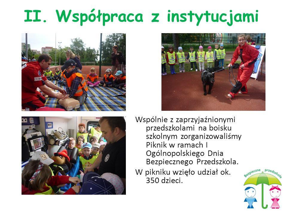 Wspólnie z zaprzyjaźnionymi przedszkolami na boisku szkolnym zorganizowaliśmy Piknik w ramach I Ogólnopolskiego Dnia Bezpiecznego Przedszkola. W pikni