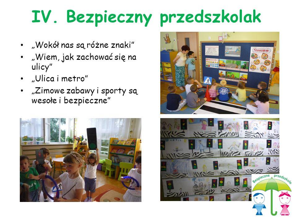 """""""Wokół nas są różne znaki"""" """"Wiem, jak zachować się na ulicy"""" """"Ulica i metro"""" """"Zimowe zabawy i sporty są wesołe i bezpieczne"""" IV. Bezpieczny przedszkol"""