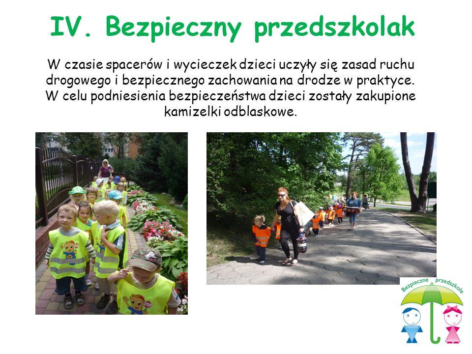 W czasie spacerów i wycieczek dzieci uczyły się zasad ruchu drogowego i bezpiecznego zachowania na drodze w praktyce. W celu podniesienia bezpieczeńst