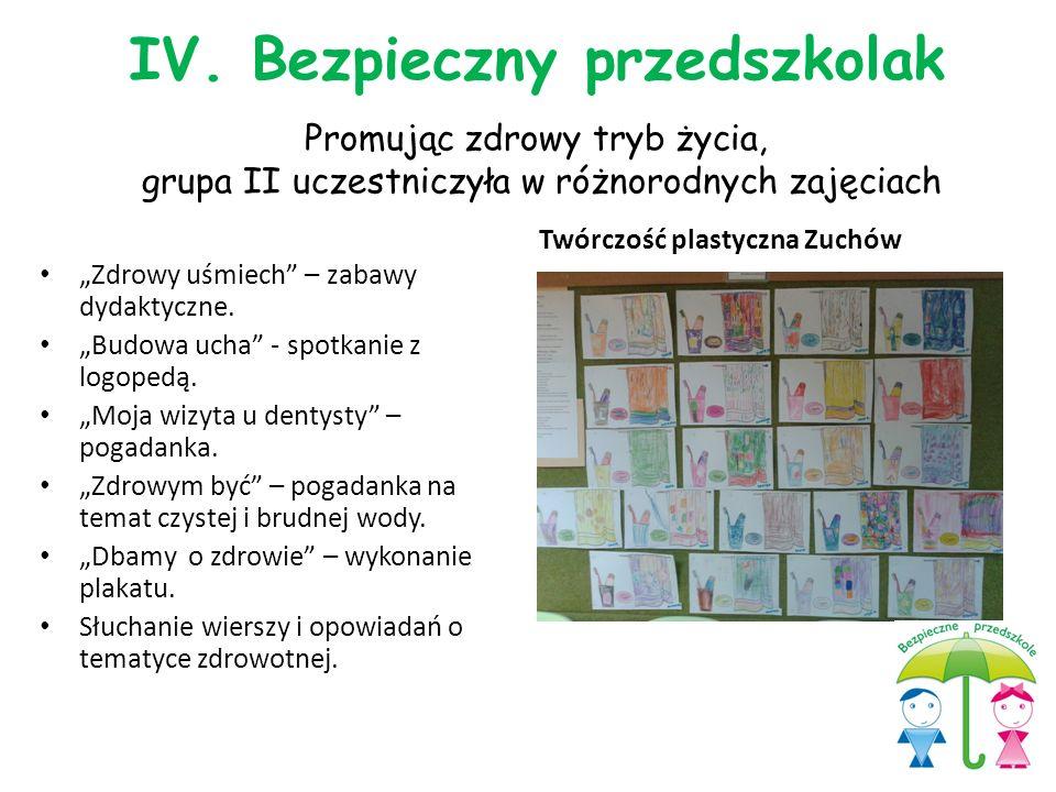 """Promując zdrowy tryb życia, grupa II uczestniczyła w różnorodnych zajęciach Twórczość plastyczna Zuchów """"Zdrowy uśmiech"""" – zabawy dydaktyczne. """"Budowa"""