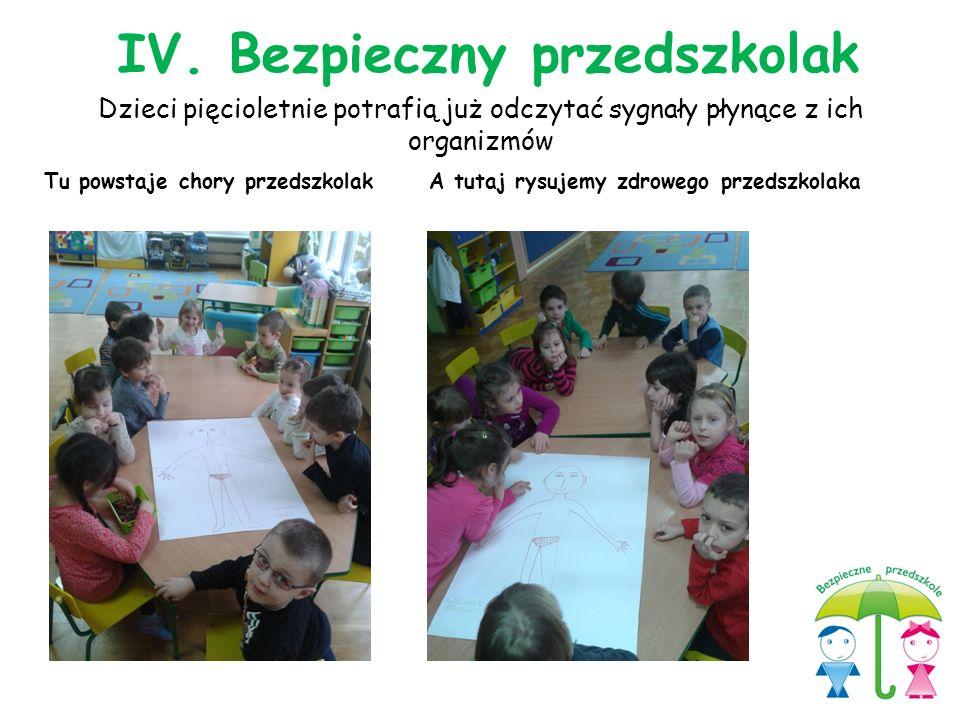 Dzieci pięcioletnie potrafią już odczytać sygnały płynące z ich organizmów Tu powstaje chory przedszkolakA tutaj rysujemy zdrowego przedszkolaka IV. B