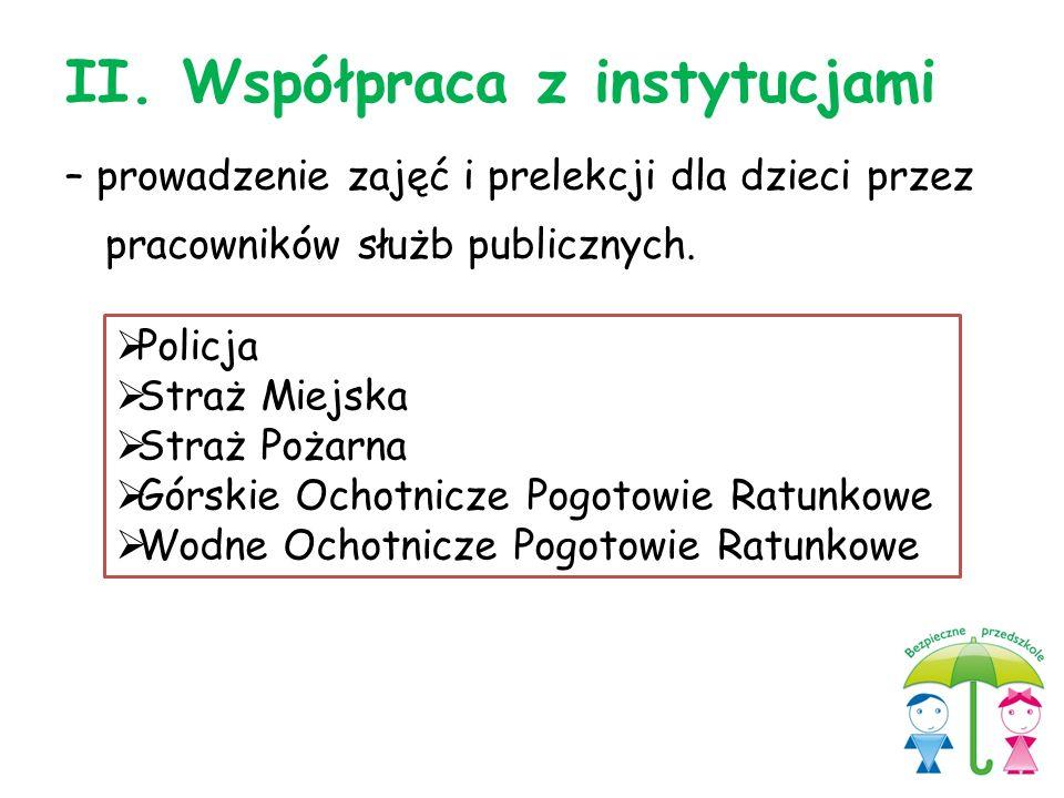 II. Współpraca z instytucjami – prowadzenie zajęć i prelekcji dla dzieci przez pracowników służb publicznych.  Policja  Straż Miejska  Straż Pożarn