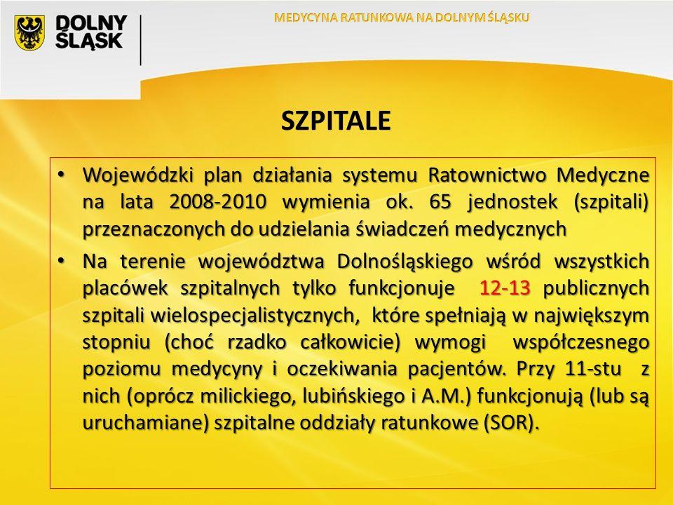 SZPITALE Wojewódzki plan działania systemu Ratownictwo Medyczne na lata 2008-2010 wymienia ok.