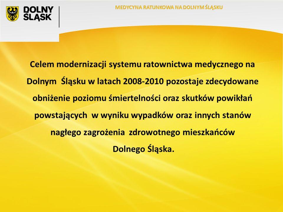 Celem modernizacji systemu ratownictwa medycznego na Dolnym Śląsku w latach 2008-2010 pozostaje zdecydowane obniżenie poziomu śmiertelności oraz skutków powikłań powstających w wyniku wypadków oraz innych stanów nagłego zagrożenia zdrowotnego mieszkańców Dolnego Śląska.