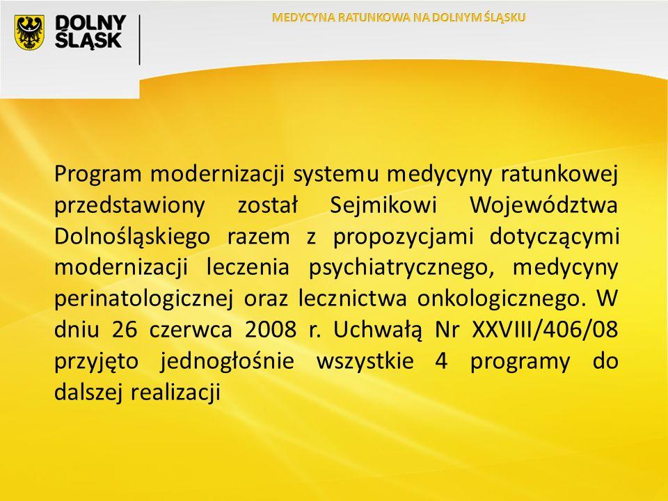 Program modernizacji systemu medycyny ratunkowej przedstawiony został Sejmikowi Województwa Dolnośląskiego razem z propozycjami dotyczącymi modernizacji leczenia psychiatrycznego, medycyny perinatologicznej oraz lecznictwa onkologicznego.