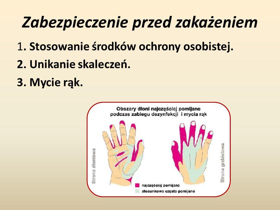 Zabezpieczenie przed zakażeniem 1. Stosowanie środków ochrony osobistej. 2. Unikanie skaleczeń. 3. Mycie rąk.