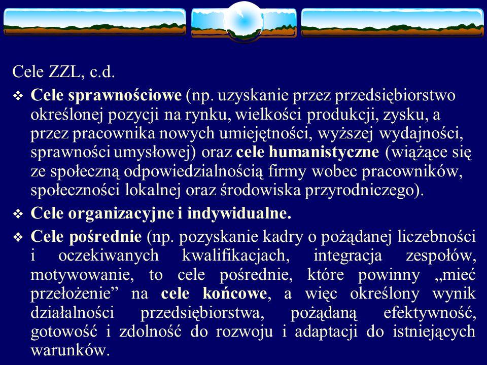 Cele ZZL, c.d.  Cele sprawnościowe (np.