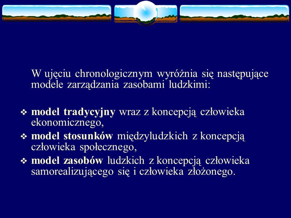 W ujęciu chronologicznym wyróżnia się następujące modele zarządzania zasobami ludzkimi:  model tradycyjny wraz z koncepcją człowieka ekonomicznego,  model stosunków międzyludzkich z koncepcją człowieka społecznego,  model zasobów ludzkich z koncepcją człowieka samorealizującego się i człowieka złożonego.