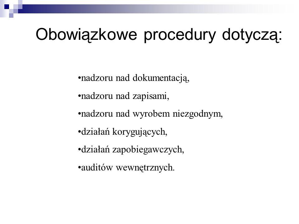 Obowiązkowe procedury dotyczą: nadzoru nad dokumentacją, nadzoru nad zapisami, nadzoru nad wyrobem niezgodnym, działań korygujących, działań zapobiegawczych, auditów wewnętrznych.