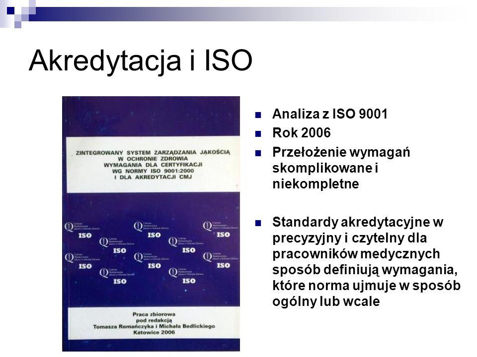 Akredytacja i ISO Analiza z ISO 9001 Rok 2006 Przełożenie wymagań skomplikowane i niekompletne Standardy akredytacyjne w precyzyjny i czytelny dla pracowników medycznych sposób definiują wymagania, które norma ujmuje w sposób ogólny lub wcale