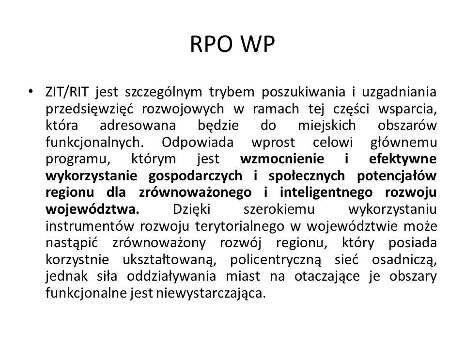 RPO WP ZIT/RIT jest szczególnym trybem poszukiwania i uzgadniania przedsięwzięć rozwojowych w ramach tej części wsparcia, która adresowana będzie do miejskich obszarów funkcjonalnych.