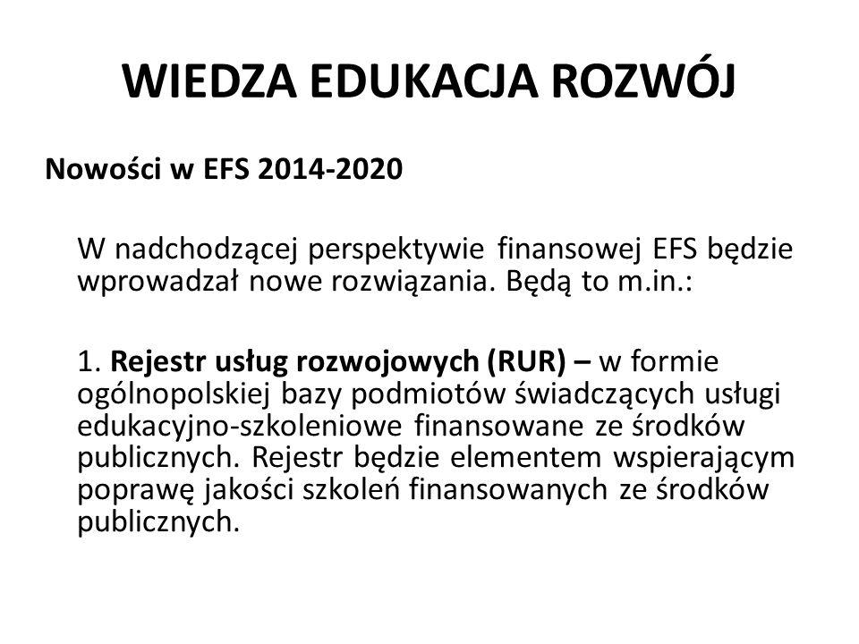 WIEDZA EDUKACJA ROZWÓJ Nowości w EFS 2014-2020 W nadchodzącej perspektywie finansowej EFS będzie wprowadzał nowe rozwiązania. Będą to m.in.: 1. Rejest