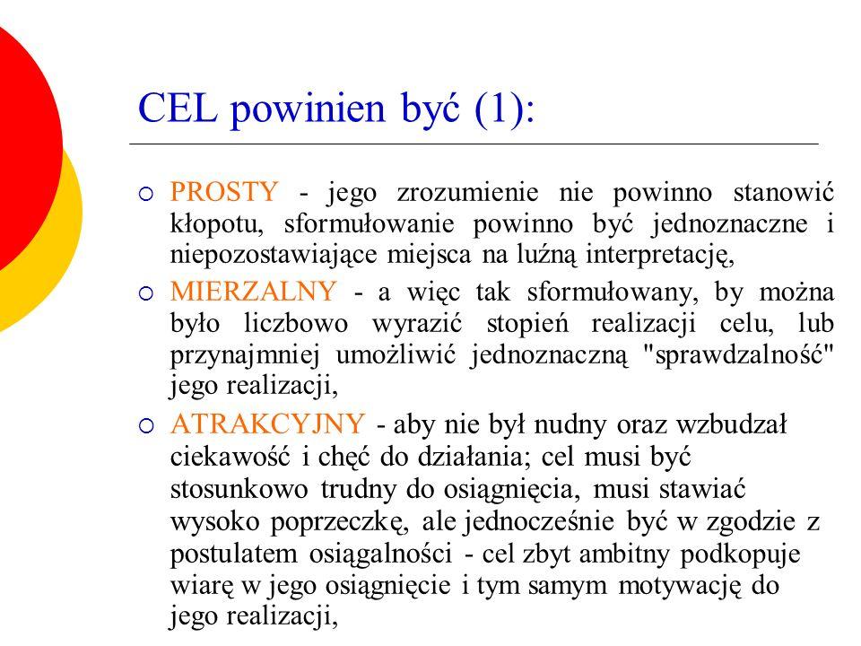 CEL powinien być (1):  PROSTY - jego zrozumienie nie powinno stanowić kłopotu, sformułowanie powinno być jednoznaczne i niepozostawiające miejsca na