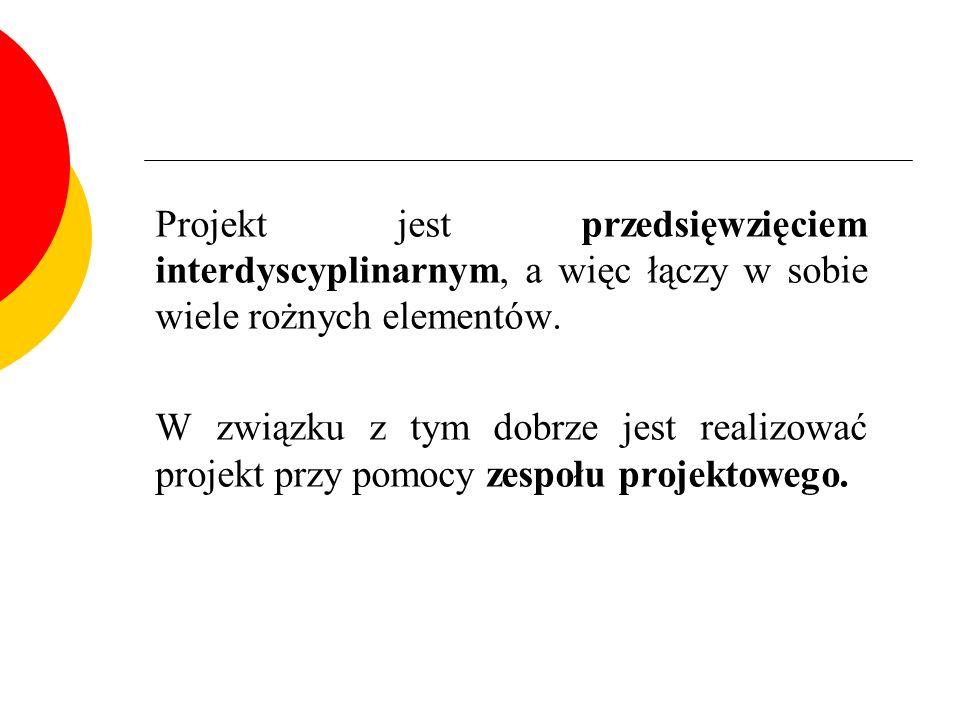 Projekt jest przedsięwzięciem interdyscyplinarnym, a więc łączy w sobie wiele rożnych elementów. W związku z tym dobrze jest realizować projekt przy p