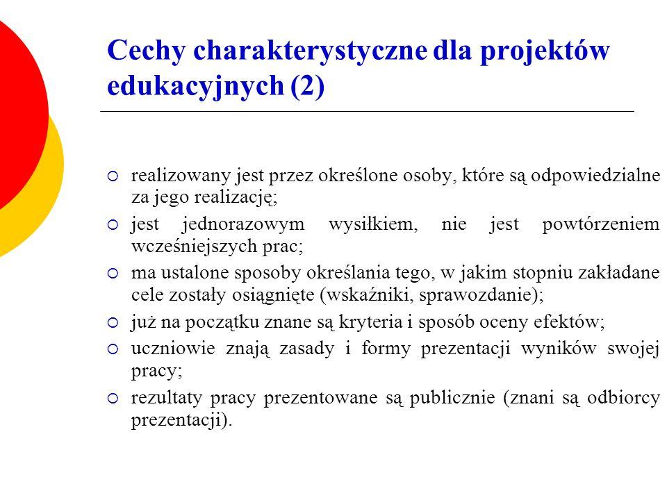Cechy charakterystyczne dla projektów edukacyjnych (2)  realizowany jest przez określone osoby, które są odpowiedzialne za jego realizację;  jest je