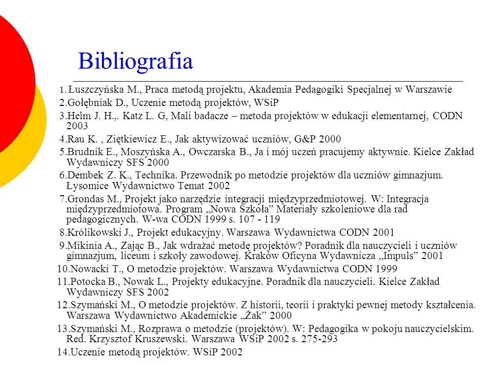 Bibliografia 1. Łuszczyńska M., Praca metodą projektu, Akademia Pedagogiki Specjalnej w Warszawie 2.Gołębniak D., Uczenie metodą projektów, WSiP 3.Hel