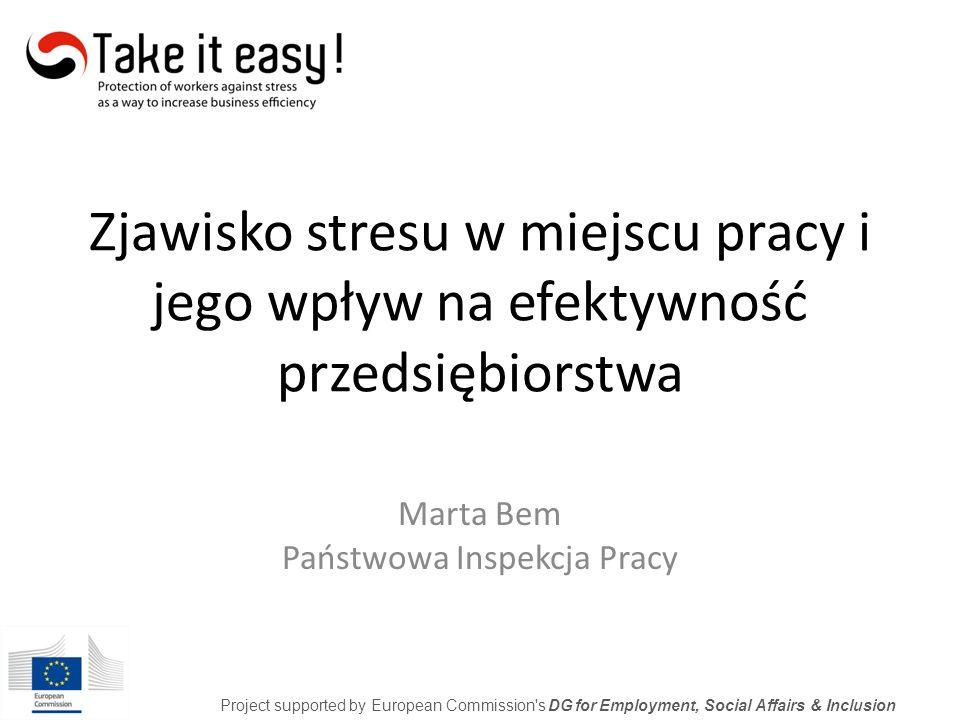 Stres – przypadłość XXI wieku POLSKA Project supported by European Commission s DG for Employment, Social Affairs & Inclusion