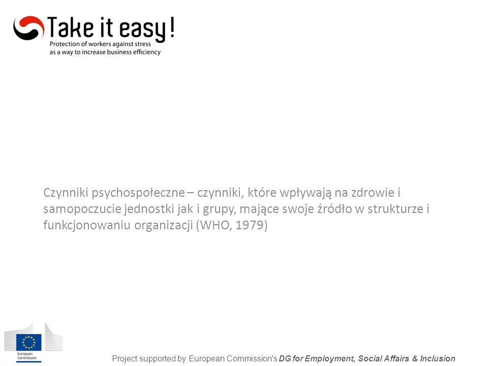 Czynniki psychospołeczne: Czynniki związane z organizacją pracy Warunki pracy Rodzaj pracy Project supported by European Commission s DG for Employment, Social Affairs & Inclusion