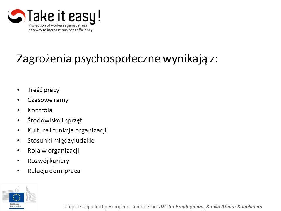 Stres w pracy Treść Kontekst Project supported by European Commission s DG for Employment, Social Affairs & Inclusion