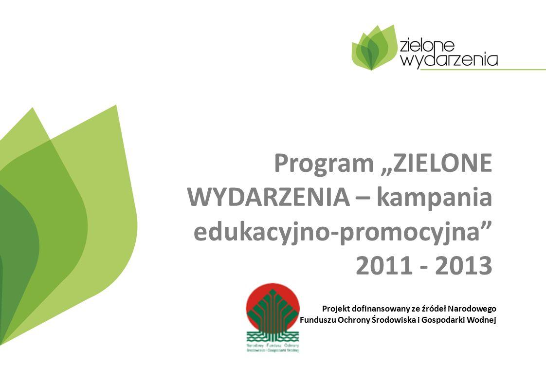 """Program """"ZIELONE WYDARZENIA – kampania edukacyjno-promocyjna 2011 - 2013 Projekt dofinansowany ze źródeł Narodowego Funduszu Ochrony Środowiska i Gospodarki Wodnej"""