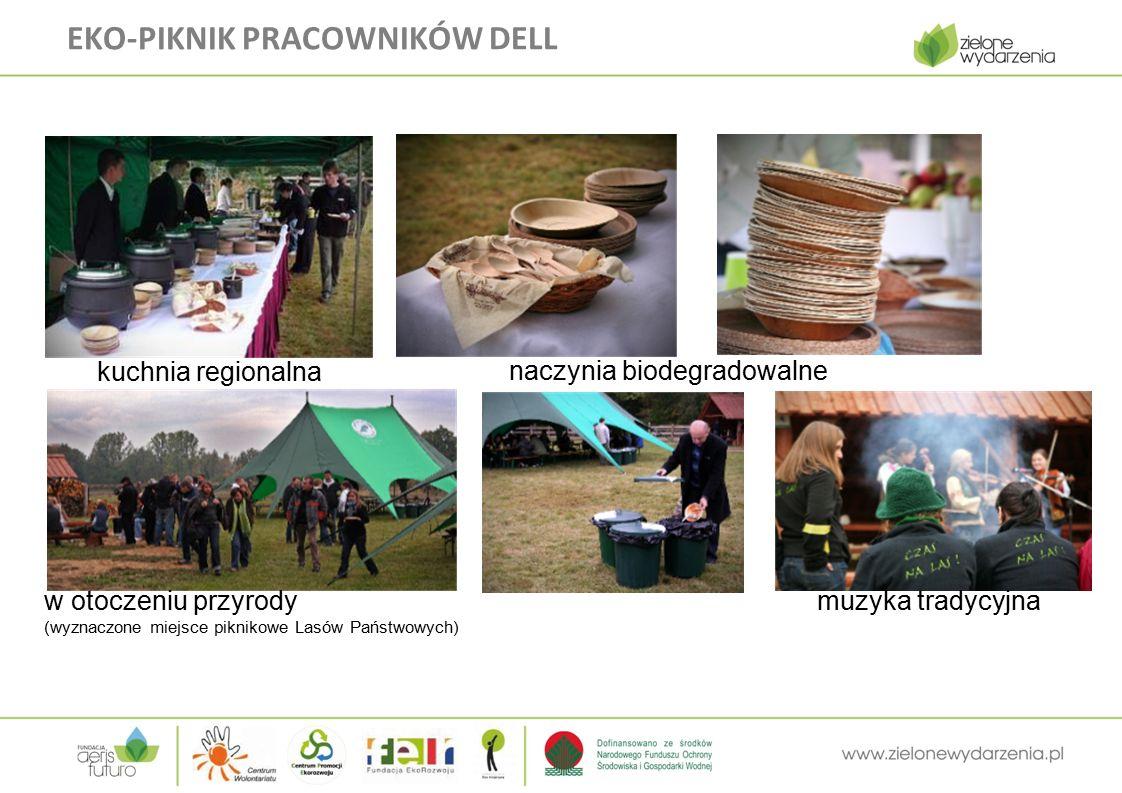 EKO-PIKNIK PRACOWNIKÓW DELL kuchnia regionalna naczynia biodegradowalne w otoczeniu przyrody (wyznaczone miejsce piknikowe Lasów Państwowych) muzyka tradycyjna