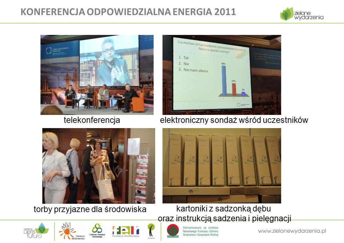 KONFERENCJA ODPOWIEDZIALNA ENERGIA 2011 telekonferencja elektroniczny sondaż wśród uczestników torby przyjazne dla środowiska kartoniki z sadzonką dębu oraz instrukcją sadzenia i pielęgnacji