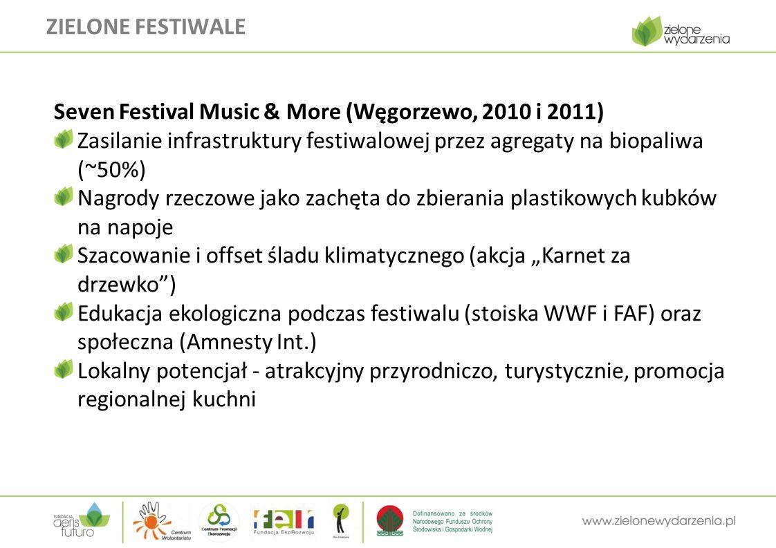"""ZIELONE FESTIWALE Seven Festival Music & More (Węgorzewo, 2010 i 2011) Zasilanie infrastruktury festiwalowej przez agregaty na biopaliwa (~50%) Nagrody rzeczowe jako zachęta do zbierania plastikowych kubków na napoje Szacowanie i offset śladu klimatycznego (akcja """"Karnet za drzewko ) Edukacja ekologiczna podczas festiwalu (stoiska WWF i FAF) oraz społeczna (Amnesty Int.) Lokalny potencjał - atrakcyjny przyrodniczo, turystycznie, promocja regionalnej kuchni"""