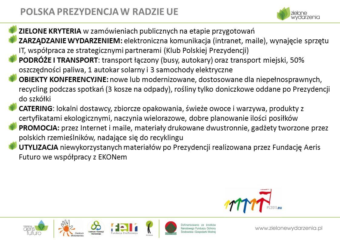 POLSKA PREZYDENCJA W RADZIE UE ZIELONE KRYTERIA w zamówieniach publicznych na etapie przygotowań ZARZĄDZANIE WYDARZENIEM: elektroniczna komunikacja (intranet, maile), wynajęcie sprzętu IT, współpraca ze strategicznymi partnerami (Klub Polskiej Prezydencji) PODRÓŻE I TRANSPORT: transport łączony (busy, autokary) oraz transport miejski, 50% oszczędności paliwa, 1 autokar solarny i 3 samochody elektryczne OBIEKTY KONFERENCYJNE: nowe lub modernizowane, dostosowane dla niepełnosprawnych, recycling podczas spotkań (3 kosze na odpady), rośliny tylko doniczkowe oddane po Prezydencji do szkółki CATERING: lokalni dostawcy, zbiorcze opakowania, świeże owoce i warzywa, produkty z certyfikatami ekologicznymi, naczynia wielorazowe, dobre planowanie ilości posiłków PROMOCJA: przez Internet i maile, materiały drukowane dwustronnie, gadżety tworzone przez polskich rzemieślników, nadające się do recyklingu UTYLIZACJA niewykorzystanych materiałów po Prezydencji realizowana przez Fundację Aeris Futuro we współpracy z EKONem