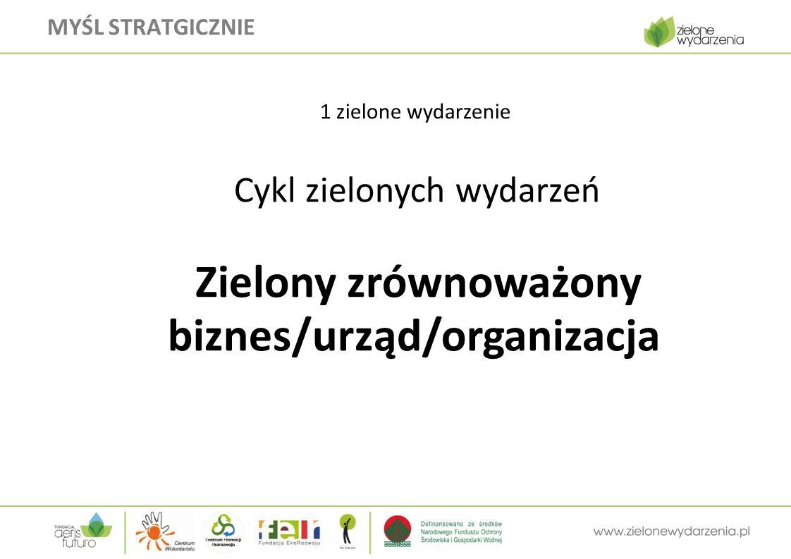 MYŚL STRATGICZNIE  1 zielone wydarzenie  Cykl zielonych wydarzeń  Zielony zrównoważony biznes/urząd/organizacja