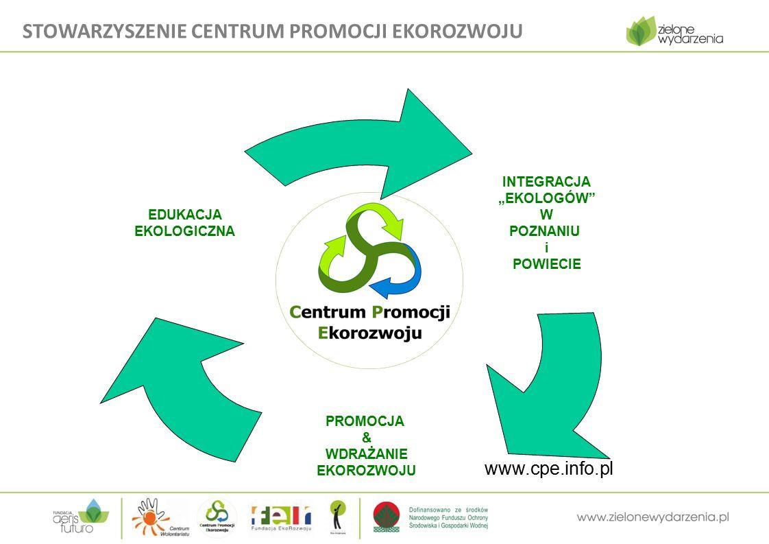 """www.cpe.info.pl INTEGRACJA """"EKOLOGÓW W POZNANIU i POWIECIE PROMOCJA & WDRAŻANIE EKOROZWOJU EDUKACJA EKOLOGICZNA STOWARZYSZENIE CENTRUM PROMOCJI EKOROZWOJU"""