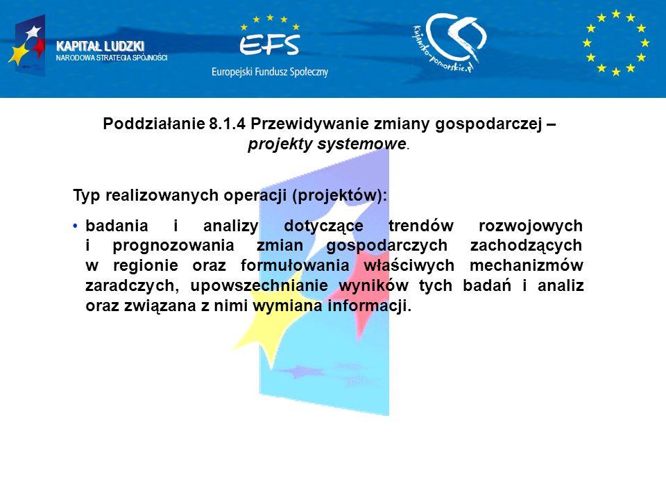 KAPITAŁ LUDZKI NARODOWA STRATEGIA SPÓJNOŚCI Poddziałanie 8.1.4 Przewidywanie zmiany gospodarczej – projekty systemowe. Typ realizowanych operacji (pro