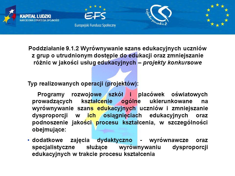 KAPITAŁ LUDZKI NARODOWA STRATEGIA SPÓJNOŚCI Poddziałanie 9.1.2 Wyrównywanie szans edukacyjnych uczniów z grup o utrudnionym dostępie do edukacji oraz