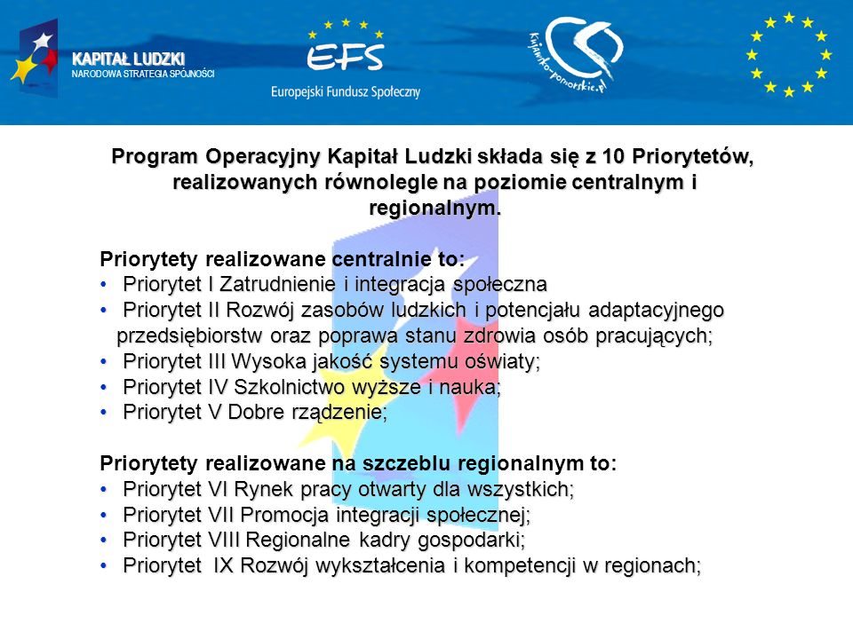 KAPITAŁ LUDZKI NARODOWA STRATEGIA SPÓJNOŚCI Program Operacyjny Kapitał Ludzki składa się z 10 Priorytetów, realizowanych równolegle na poziomie centra
