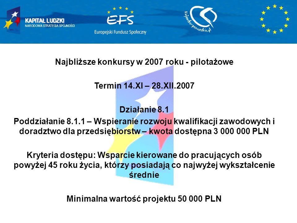 KAPITAŁ LUDZKI NARODOWA STRATEGIA SPÓJNOŚCI Najbliższe konkursy w 2007 roku - pilotażowe Termin 14.XI – 28.XII.2007 Działanie 8.1 Poddziałanie 8.1.1 –