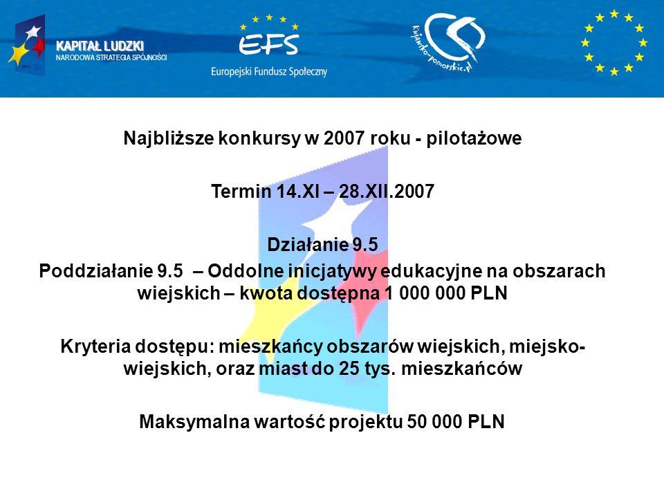 KAPITAŁ LUDZKI NARODOWA STRATEGIA SPÓJNOŚCI Najbliższe konkursy w 2007 roku - pilotażowe Termin 14.XI – 28.XII.2007 Działanie 9.5 Poddziałanie 9.5 – O