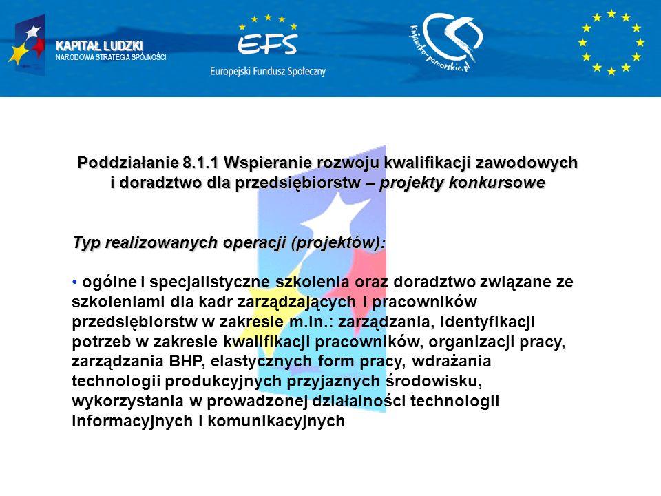 KAPITAŁ LUDZKI NARODOWA STRATEGIA SPÓJNOŚCI Poddziałanie 8.1.1 Wspieranie rozwoju kwalifikacji zawodowych i doradztwo dla przedsiębiorstw – projekty k