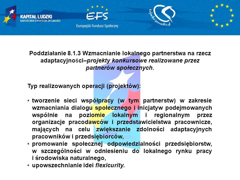 KAPITAŁ LUDZKI NARODOWA STRATEGIA SPÓJNOŚCI Poddziałanie 8.1.3 Wzmacnianie lokalnego partnerstwa na rzecz adaptacyjności–projekty konkursowe realizowane przez partnerów społecznych.