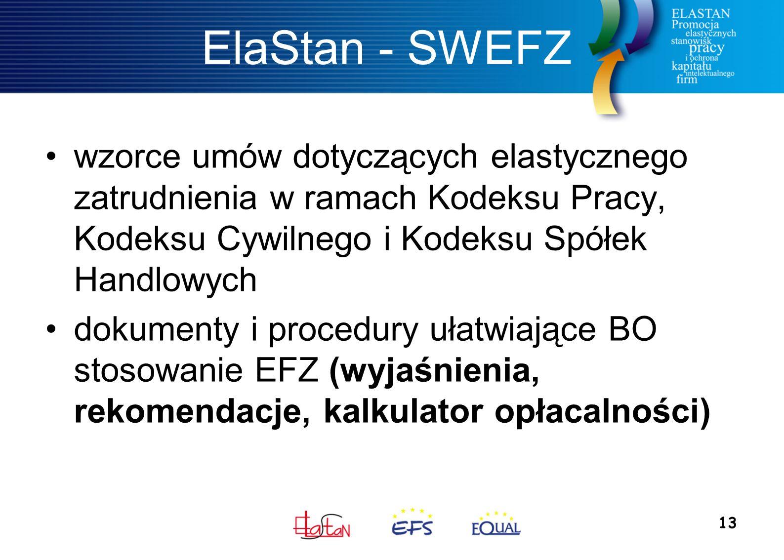 13 ElaStan - SWEFZ wzorce umów dotyczących elastycznego zatrudnienia w ramach Kodeksu Pracy, Kodeksu Cywilnego i Kodeksu Spółek Handlowych dokumenty i procedury ułatwiające BO stosowanie EFZ (wyjaśnienia, rekomendacje, kalkulator opłacalności)