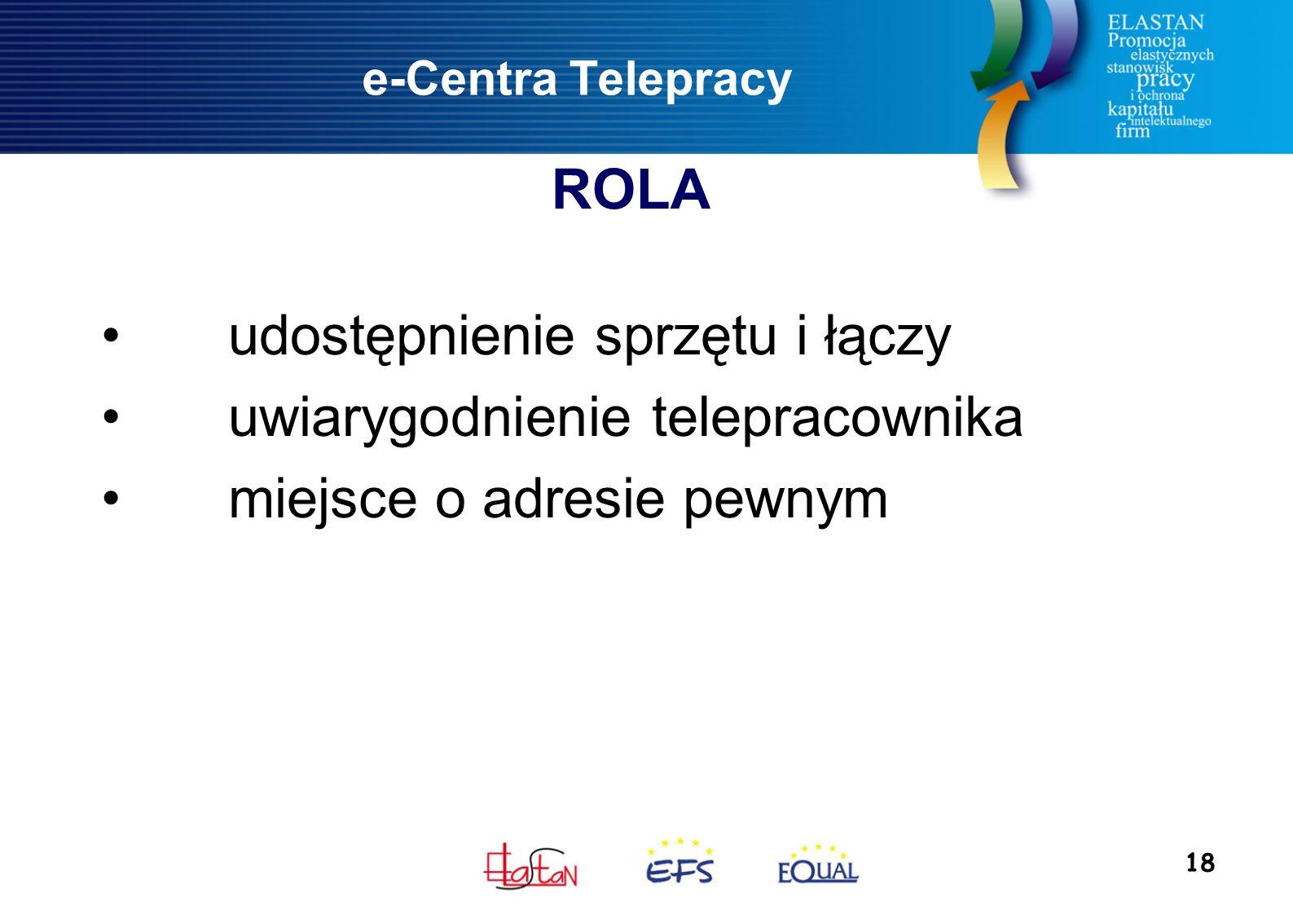 18 e-Centra Telepracy udostępnienie sprzętu i łączy uwiarygodnienie telepracownika miejsce o adresie pewnym ROLA