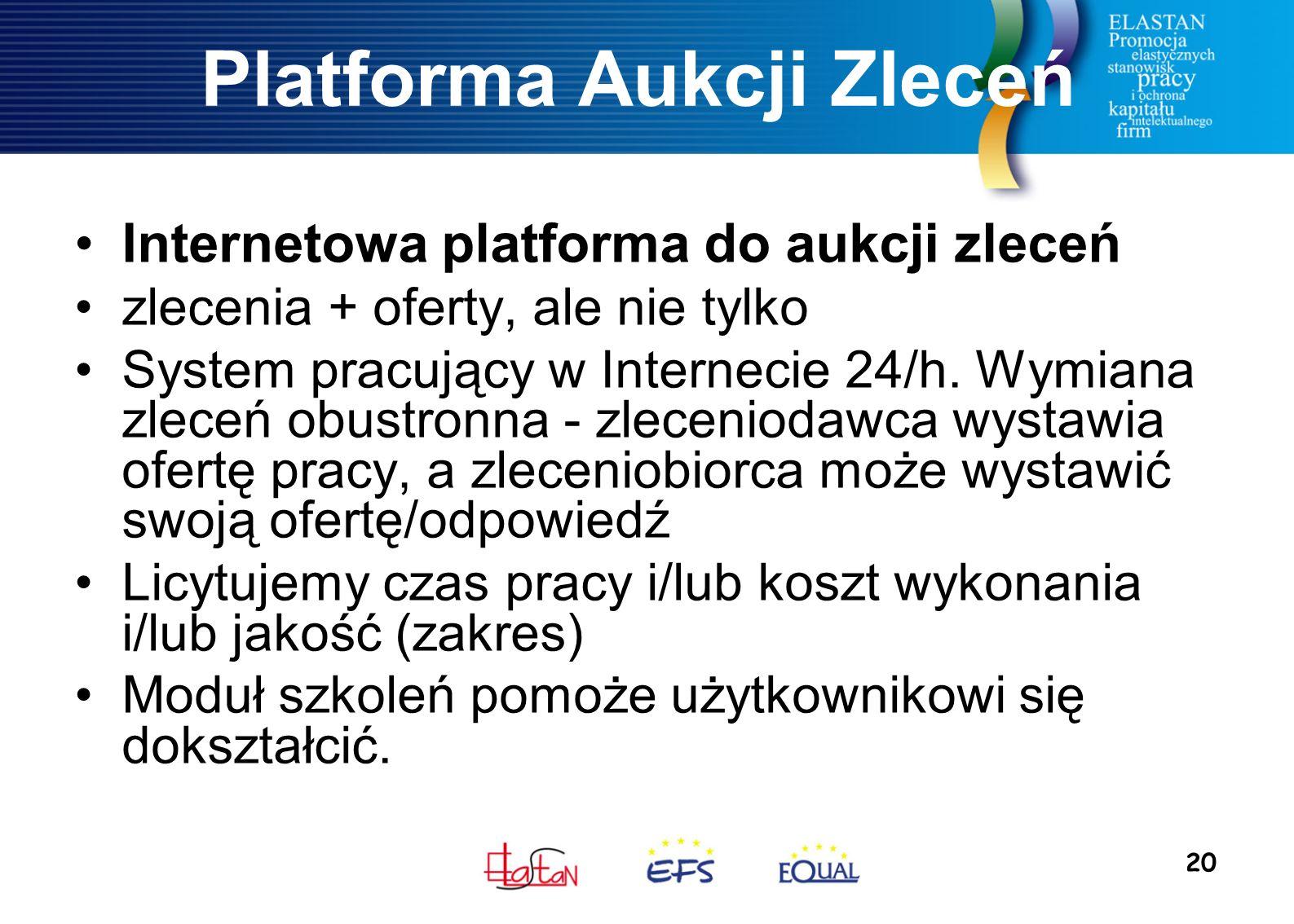 20 Platforma Aukcji Zleceń Internetowa platforma do aukcji zleceń zlecenia + oferty, ale nie tylko System pracujący w Internecie 24/h. Wymiana zleceń