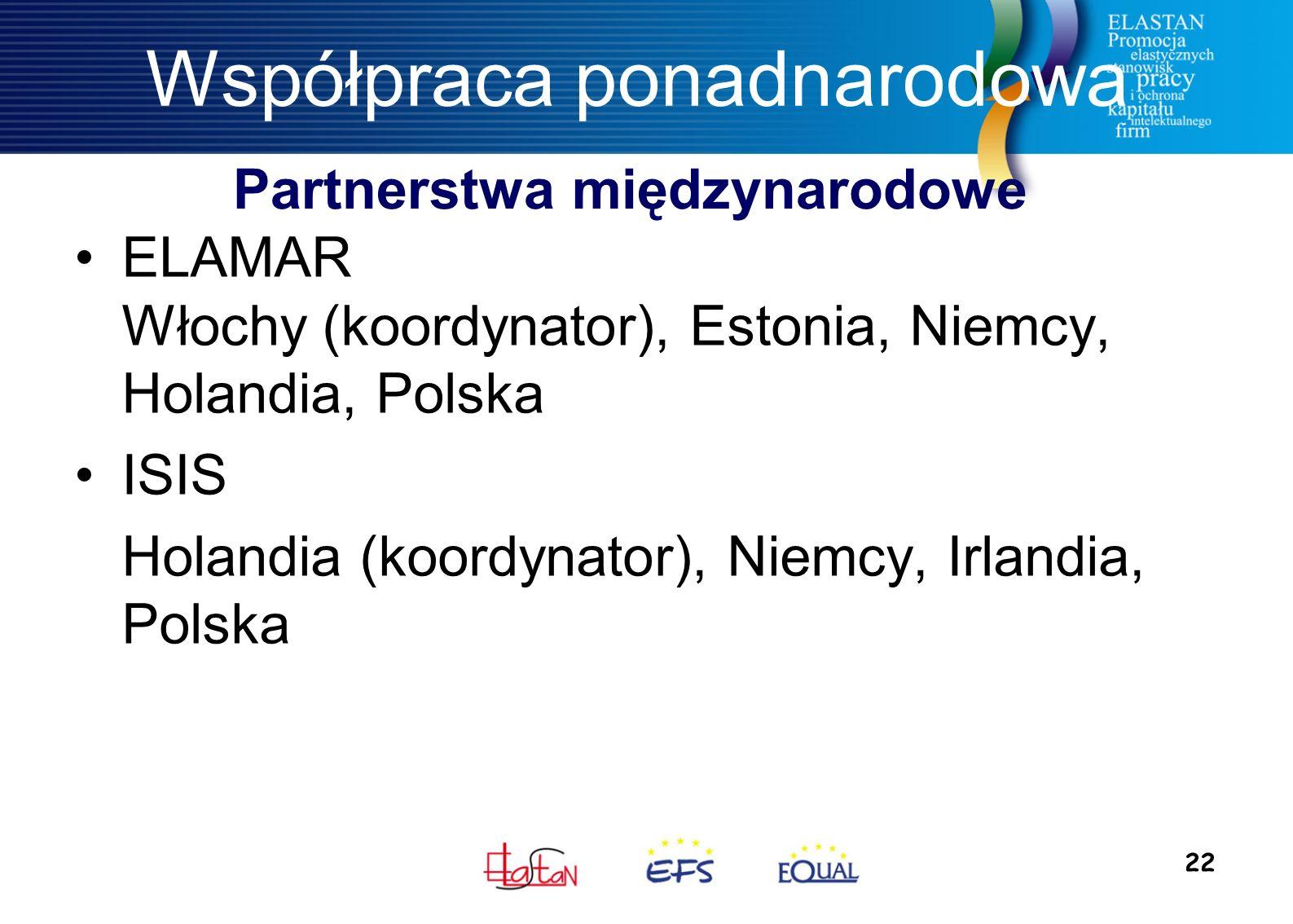 22 Współpraca ponadnarodowa ELAMAR Włochy (koordynator), Estonia, Niemcy, Holandia, Polska ISIS Holandia (koordynator), Niemcy, Irlandia, Polska Partnerstwa międzynarodowe