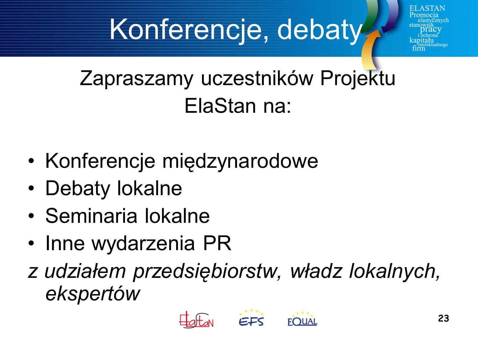23 Konferencje, debaty Zapraszamy uczestników Projektu ElaStan na: Konferencje międzynarodowe Debaty lokalne Seminaria lokalne Inne wydarzenia PR z ud